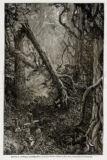 Central African Landscape.--A Forest Storm. Illustration from With the World's People by John Clark Ridpath (Clark E Ridpath, 1912).