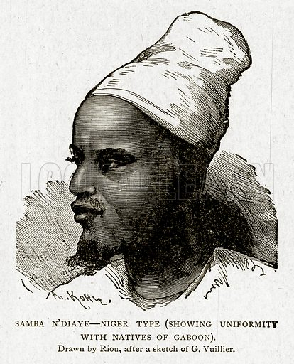 Samba N'Diaye – Niger Type (showing Uniformity with Natives of Gaboon). Illustration from With the World's People by John Clark Ridpath (Clark E Ridpath, 1912).
