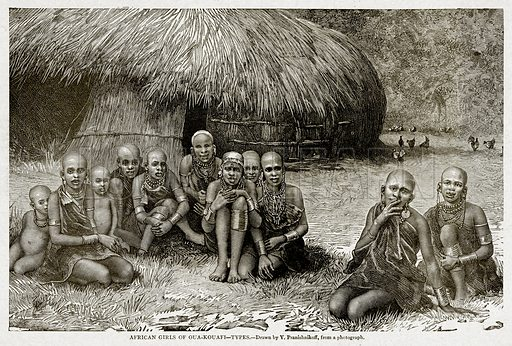 African Girls of Oua-Kouafi--Types. Illustration from With the World's People by John Clark Ridpath (Clark E Ridpath, 1912).