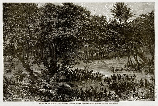 African Landscape.--Catching Turtles on the Gnengo. Illustration from With the World's People by John Clark Ridpath (Clark E Ridpath, 1912).