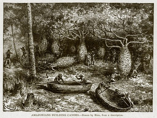 Amazonians Building Canoes. Illustration from With the World's People by John Clark Ridpath (Clark E Ridpath, 1912).