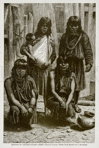 Natives of Amazon Valley--Types.--Parinari Indians. Illustration from With the World's People by John Clark Ridpath (Clark E Ridpath, 1912).