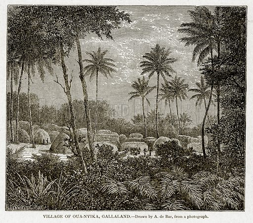 Village of Oua-Nyika, Gallaland. Illustration from With the World