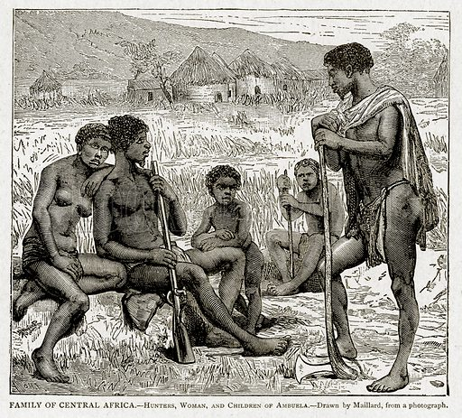 Family of Central Africa.--Hunters, Woman, and Children of Ambuela. Illustration from With the World