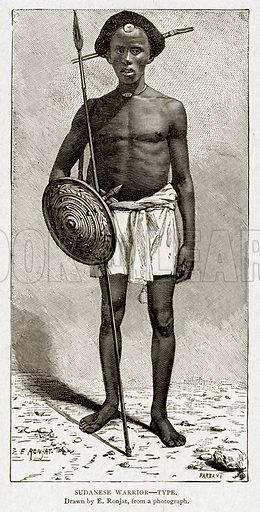Sudanese Warrior--Type. Illustration from With the World's People by John Clark Ridpath (Clark E Ridpath, 1912).