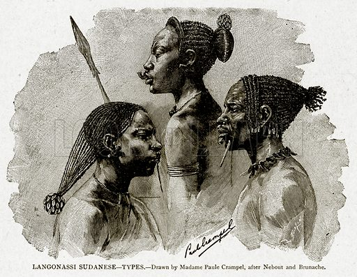 Langonassi Sudanese--Types. Illustration from With the World's People by John Clark Ridpath (Clark E Ridpath, 1912).