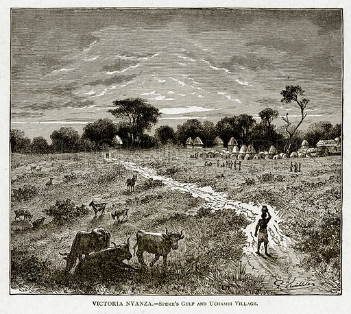 Victoria Nyanza. – Speke's Gulf and Uchambi Village. Illustration from With the World's People by John Clark Ridpath (Clark E Ridpath, 1912).