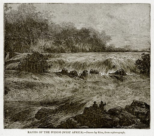 Rapids of the Ivindo (West Africa). Illustration from With the World's People by John Clark Ridpath (Clark E Ridpath, 1912).