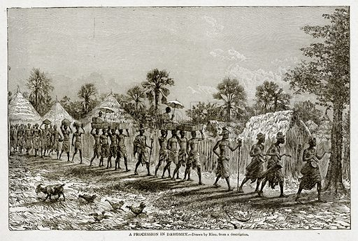 A Procession in Dahomey. Illustration from With the World