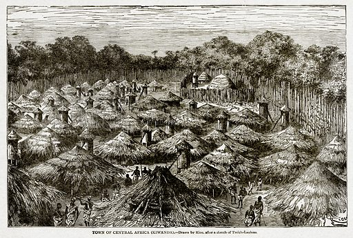 Town of Central Africa (Kiwanda). Illustration from With the World's People by John Clark Ridpath (Clark E Ridpath, 1912).