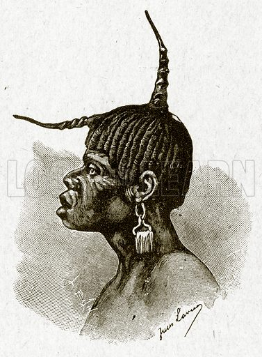 African hair style. Illustration from With the World's People by John Clark Ridpath (Clark E Ridpath, 1912).