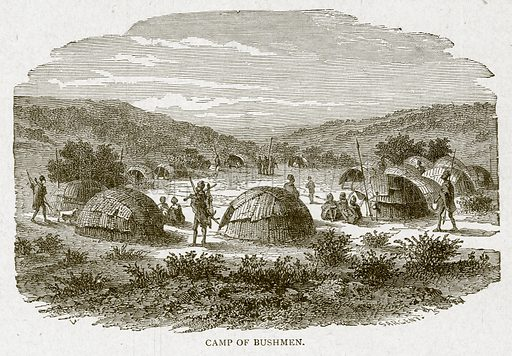 Camp of Bushmen. Illustration from With the World's People by John Clark Ridpath (Clark E Ridpath, 1912).