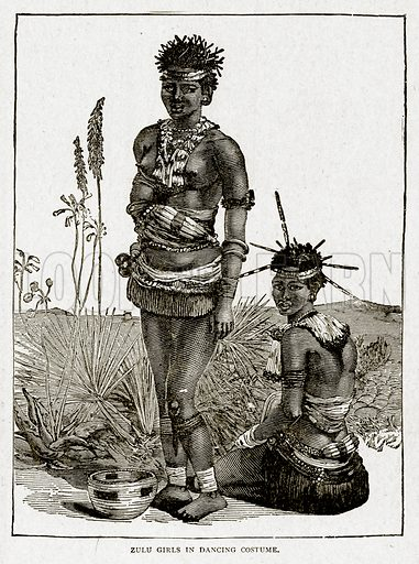Zulu Girls in Dancing Costume. Illustration from With the World's People by John Clark Ridpath (Clark E Ridpath, 1912).