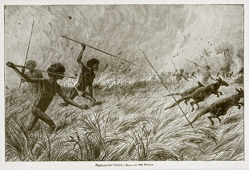 Kangaroo Chase. Illustration from With the World's People by John Clark Ridpath (Clark E Ridpath, 1912).