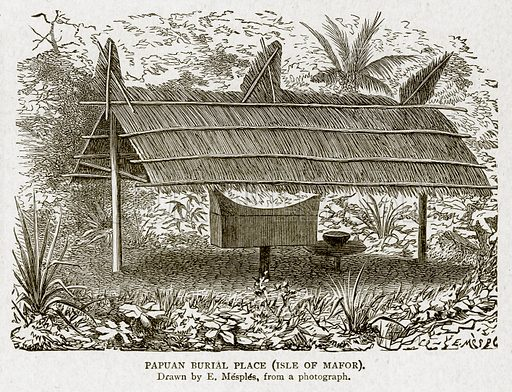 Papuan Burial Place (Isle of Mafor). Illustration from With the World's People by John Clark Ridpath (Clark E Ridpath, 1912).