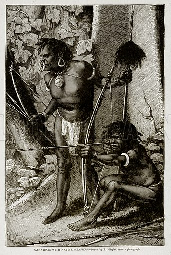 Cannibals with Native Weapons. Illustration from With the World's People by John Clark Ridpath (Clark E Ridpath, 1912).