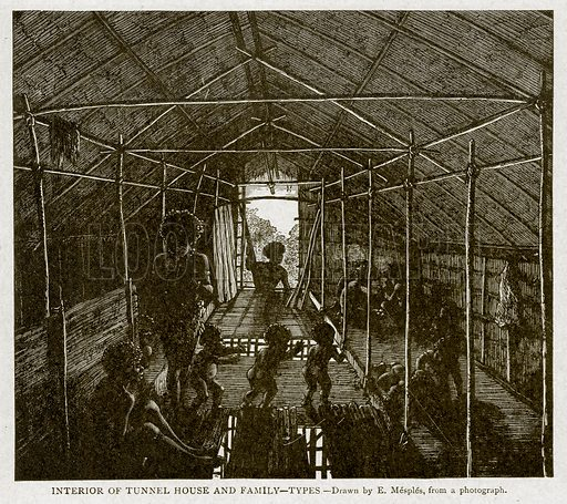 Interior of Tunnel House and Family--Types. Illustration from With the World