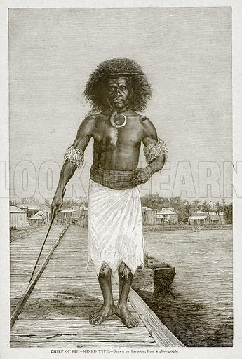 Chief of Fiji--Mixed Type. Illustration from With the World's People by John Clark Ridpath (Clark E Ridpath, 1912).