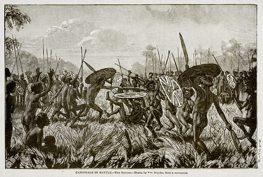 Cannibals in battle.--Borbobi. Illustration from With the World's People by John Clark Ridpath (Clark E Ridpath, 1912).