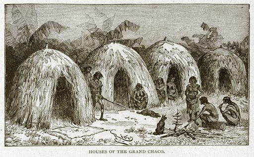 Houses of the Grand Chaco. Illustration from With the World's People by John Clark Ridpath (Clark E Ridpath, 1912).