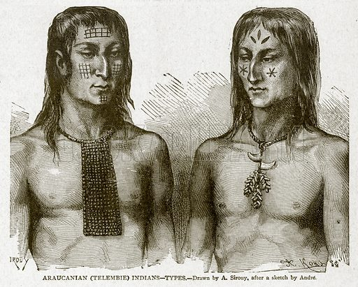 Araucanian (Telembie) Indians--Types. Illustration from With the World's People by John Clark Ridpath (Clark E Ridpath, 1912).