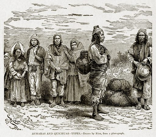 Aymaras and Quichuas--Types. Illustration from With the World's People by John Clark Ridpath (Clark E Ridpath, 1912).