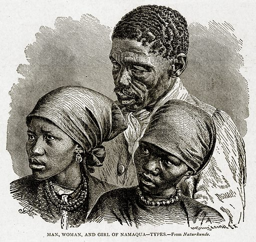 Man, Woman, and Girl of Namaqua--Types. Illustration from With the World's People by John Clark Ridpath (Clark E Ridpath, 1912).