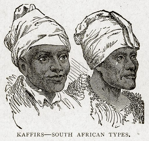 Kaffirs--South African Types. Illustration from With the World's People by John Clark Ridpath (Clark E Ridpath, 1912).