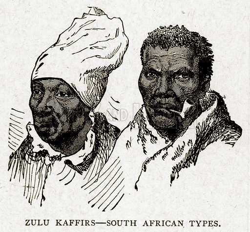 Zulu Kaffirs – South African Types. Illustration from With the World's People by John Clark Ridpath (Clark E Ridpath, 1912).