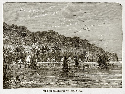 On the Shores of Tanganyika. Illustration from With the World's People by John Clark Ridpath (Clark E Ridpath, 1912).
