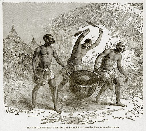 Slaves Carrying the Drum Basket. Illustration from With the World's People by John Clark Ridpath (Clark E Ridpath, 1912).