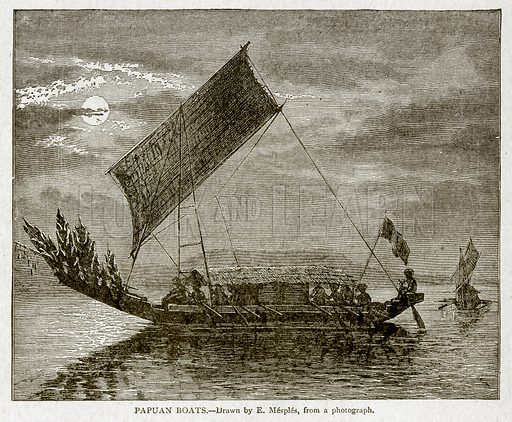 Papuan Boats. Illustration from With the World's People by John Clark Ridpath (Clark E Ridpath, 1912).