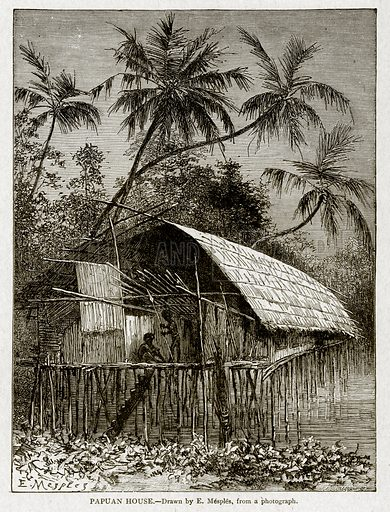 Papuan House. Illustration from With the World's People by John Clark Ridpath (Clark E Ridpath, 1912).