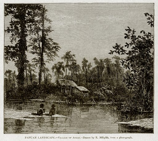 Papuan Landscape.--Village of Andai. Illustration from With the World's People by John Clark Ridpath (Clark E Ridpath, 1912).