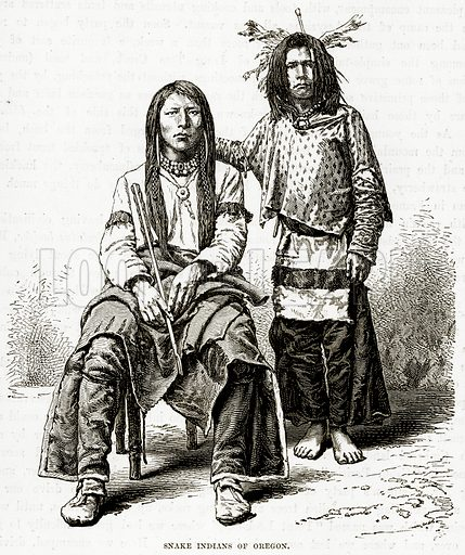 Snake Indians of Oregon. Illustration from The Countries of the World by Robert Brown (Cassell, c 1890).