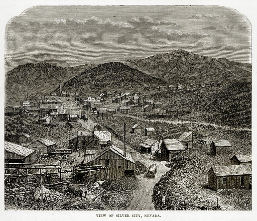 View of Silver City, Nevada. Illustration from The Countries of the World by Robert Brown (Cassell, c 1890).