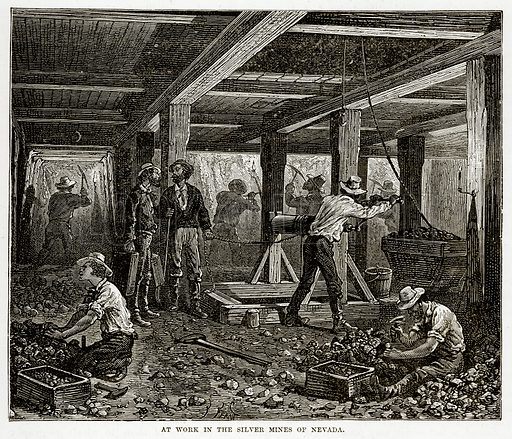 At work in the Silver Mines of Nevada. Illustration from The Countries of the World by Robert Brown (Cassell, c 1890).