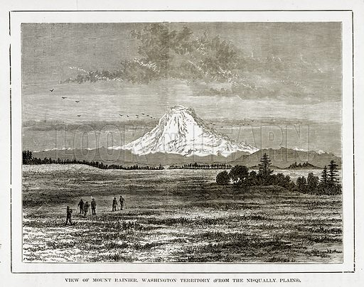 View of Mount Rainier. Washington Territory. Illustration from The Countries of the World by Robert Brown (Cassell, c 1890).