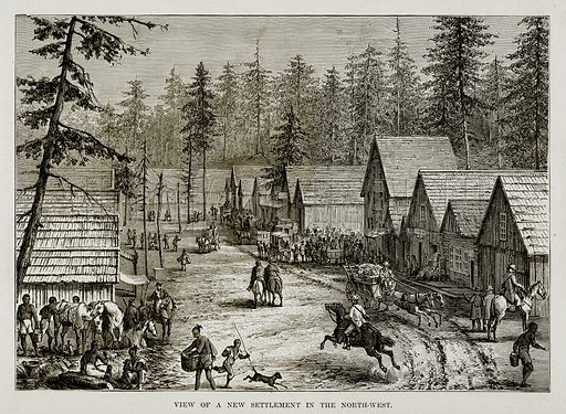 View of a New Settlement in the North-West. Illustration from The Countries of the World by Robert Brown (Cassell, c 1890).