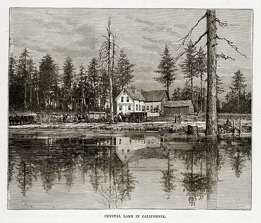 Crystal Lake in California. Illustration from The Countries of the World by Robert Brown (Cassell, c 1890).