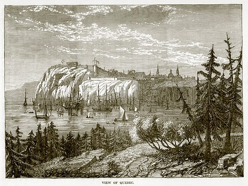 View of Quebec. Illustration from The Countries of the World by Robert Brown (Cassell, c 1890).