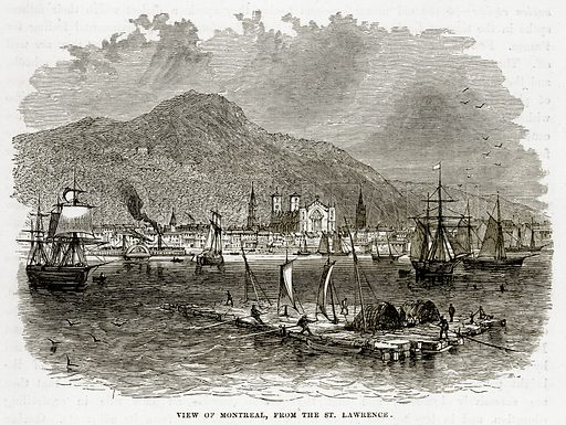 View of Montreal, from the St. Lawrence. Illustration from The Countries of the World by Robert Brown (Cassell, c 1890).