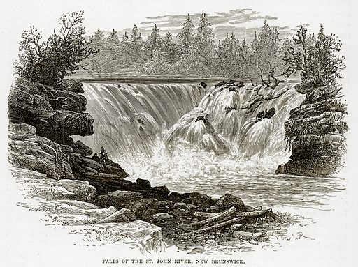 Falls of the St. John River, New Brunswick. Illustration from The Countries of the World by Robert Brown (Cassell, c 1890).