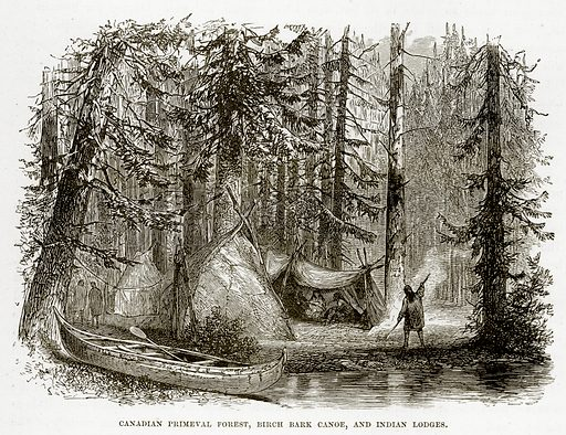 Canadian Primeval Forest, Birch Bark Canoe, and Indian Lodges. Illustration from The Countries of the World by Robert Brown (Cassell, c 1890).