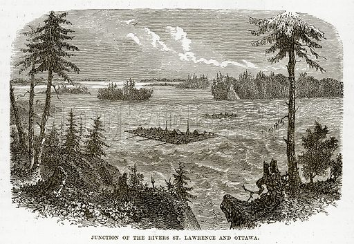 Junction of the Rivers St. Lawrence and Ottawa. Illustration from The Countries of the World by Robert Brown (Cassell, c 1890).