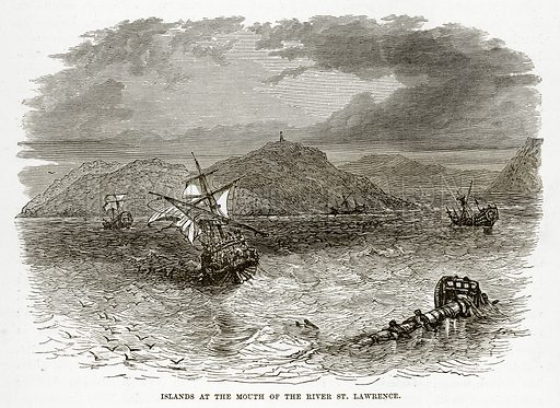 Islands at the Mouth of the River St. Lawrence. Illustration from The Countries of the World by Robert Brown (Cassell, c 1890).