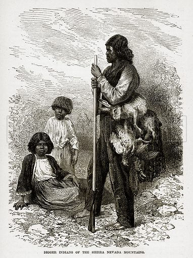 Digger Indians of the Sierra Nevada Mountains. Illustration from The Countries of the World by Robert Brown (Cassell, c 1890).