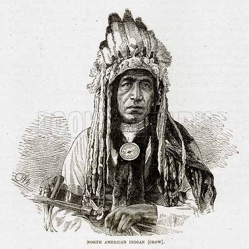 North American Indian (Crow). Illustration from The Countries of the World by Robert Brown (Cassell, c 1890).