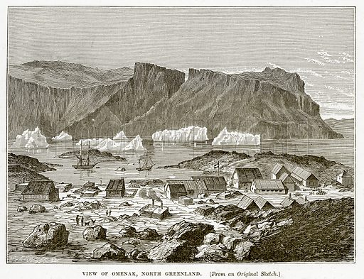 View of Omenak, North Greenland. Illustration from The Countries of the World by Robert Brown (Cassell, c 1890).