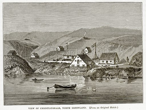 View of Christianshaab, North Greenland. Illustration from The Countries of the World by Robert Brown (Cassell, c 1890).